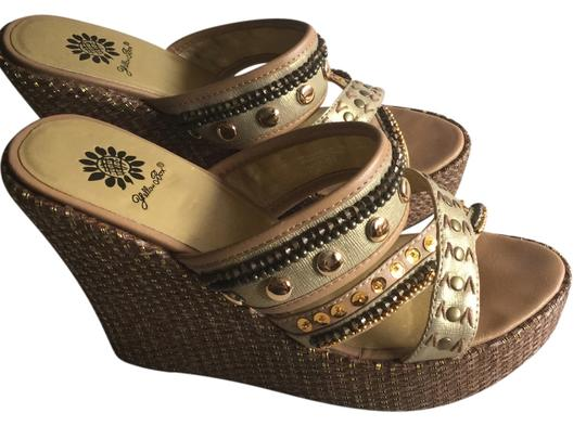 Yellow Box Gold Brown Sequins Beads Brass Wedges