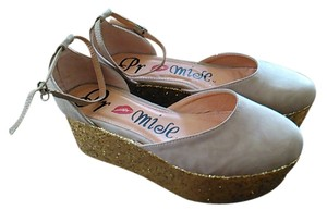 Promises Platform tan canvas with gold glitter heels Platforms