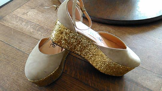 Promises tan canvas with gold glitter heels Platforms
