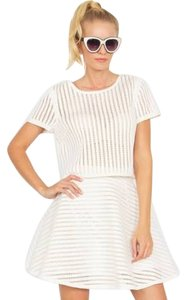 Sugarlips Grid Striped Mini Skirt White