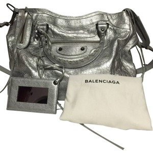 Balenciaga Leather Lambskin Grey Silver Shoulder Bag