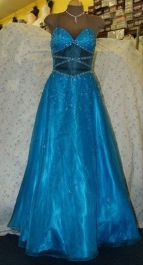 Precious Formals Blue Other Turquoise #10161 Formal Bridesmaid/Mob Dress Size 8 (M)