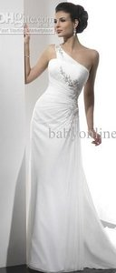 White Chiffon One Shoulder Dress..never Worn Feminine Wedding Dress Size 18 (XL, Plus 0x)