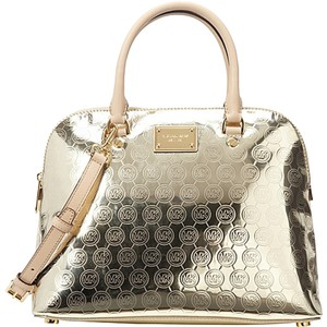 Michael Kors New Mk Logo Leather Satchel in Gold Tan