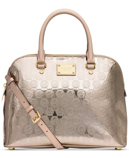 Michael Kors New Mk Leather Large Crossbody Satchel in Gold Tan