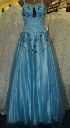 Precious Formals Blue Tulle Blue/Lavander Sequins Long Gown Formal Bridesmaid/Mob Dress Size 6 (S)
