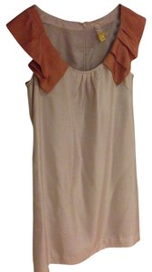 J.Crew Flowy Drape Ruffle Tan Gold Orange Silk Wedding Bridesmaid Above The Knee Length Knee Length Zipper Pockets Nude Rust 6 Dress