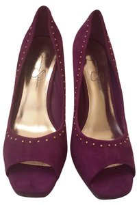 Jessica Simpson Studded Suede Suede Peep Toe Studded Purple Pumps