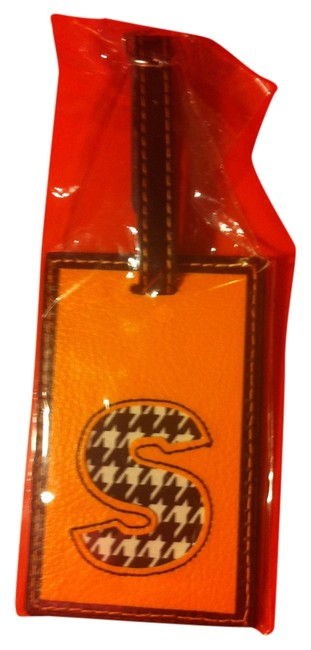 """Item - Orange/Black White With Tags Leather Luggage Tag with Intial """"S"""" On It"""
