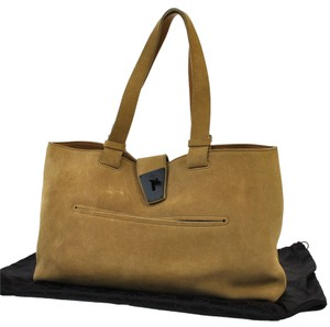 Gucci Vintage Suede Shoulder Tote in Beige