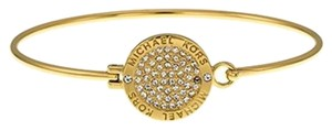 Michael Kors MICHAEL KORS MKJ3559 Gold Tone Crystal Pave Disc Bangle Bracelet