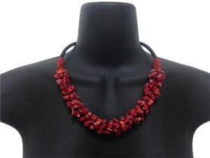Red Coral Stone Chips Necklace