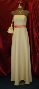 Forever Yours Yellow Buttercup/Coral Strapless #76204 Traditional Bridesmaid/Mob Dress Size 4 (S)