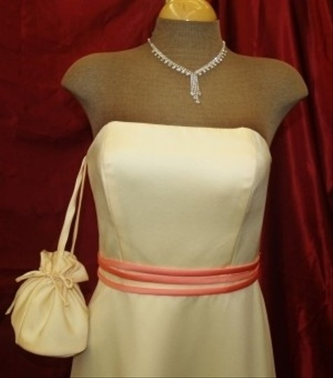 Forever Yours Yellow Buttercup/Coral Strapless #7620 Traditional Dress Size 4 (S)