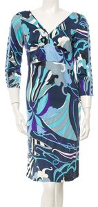Emilio Pucci Black Multicolor Longsleeve Sheath V-neck Silk Sundress Dress
