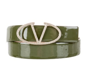 Valentino Olive green Valentino patent leather V buckle belt