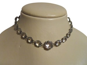 Antique sterling silver crystal choker
