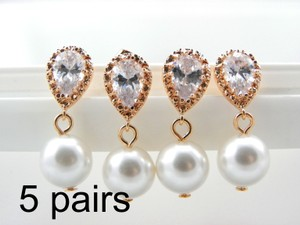 5 Pairs Bridesmaid Rose Gold Pearl Earrings Swarovski Pearls Cubic Zirconia Sterling Silver Posts Pink Gold Wedding Gift