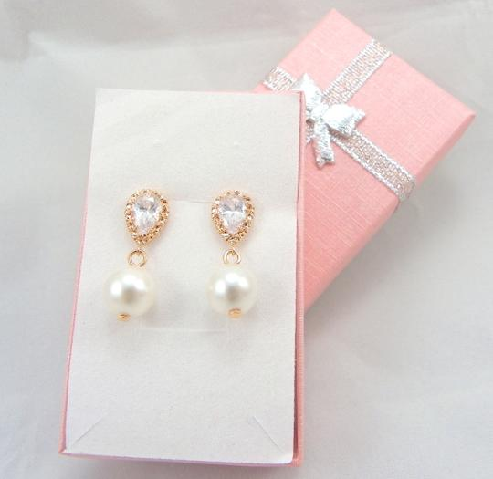 White Ivory 5 Pairs Bridesmaid Rose Gold Pearl Swarovski Pearls Cubic Zirconia Sterling Silver Posts Pink Gold Gift Earrings