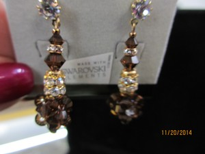 Giavan Smoked Topaz Hol243e (E69) Crystal Drop with Cluster Earrings