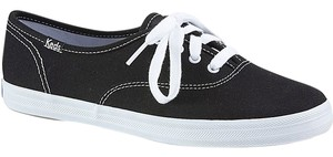 Keds *4 Eyelet Lace Up Free Shipping Upper Canvas BLACK Athletic