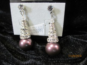 Giavan Burgundy Hol565e (E67) with Stacked Rondelles Pearl Earrings