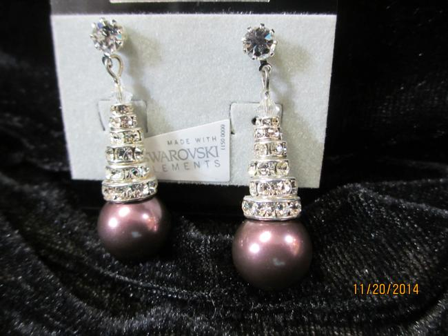 Item - Burgundy Hol565e (E67) with Stacked Rondelles Pearl Earrings