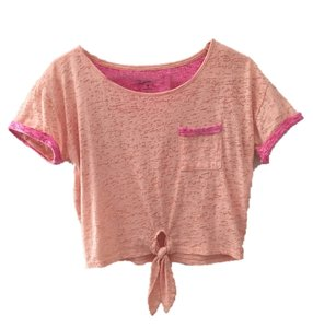 Arizona Jean Company Spring Summer Crop T Shirt Light orange with pink tipped sleeves