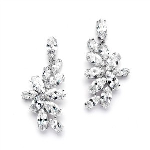 Mariell Cz Cluster Wedding Earrings With Marquis Leaves 4371e-s
