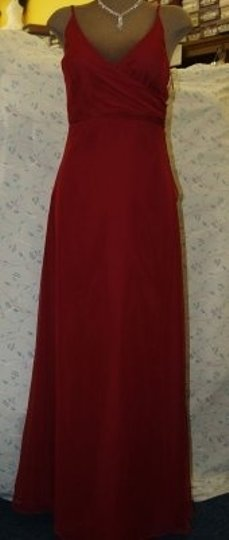 Jordan Fashions CRANBERRY Jordan Fashions Cranberry Dress Size 4 #384 Spaghetti Straps Crisscross Chiffon A Line Empire Cut Flattering Floor Red Dress