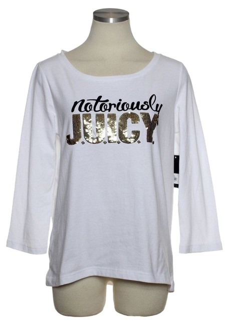 Juicy Couture Sequined 3/4 Sleeve T Shirt White