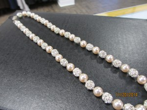 Giavan Giavan Rs077n (n30) Pearl Necklace With Rhinestone Beads