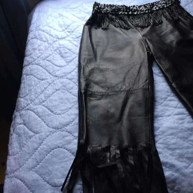 Dolce&Gabbana Leather Leather Fringe Hem Italy Size 38 Fringe Sequin Leather Pants