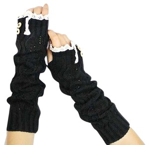 Black Knitted Lace Trim Buttoned Fingerless Thumb Hole Arm Warmer Gloves