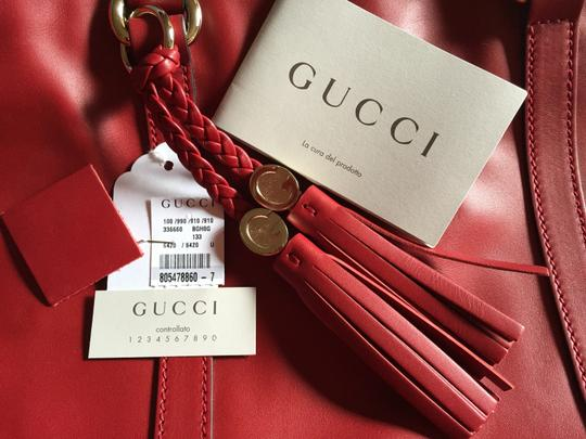 Gucci Gg Medium Leather Woven Leather Tassels Vertical Open Top Handbag Italian Made In Italy Tote in Red