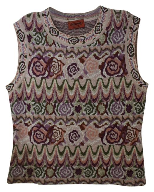 Missoni Italy Floral Print Color No Sleeve Sweater Top Multi