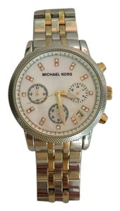 Michael Kors Michael Kors Gold Strip Pearl Face Chronograph Watch