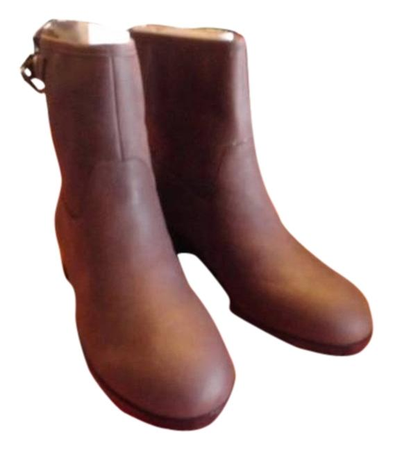 Item - Brown Moto Motorcycle Leather Buckle Ankle Ankle Slip On Low Heel The Flat Biker New Boots/Booties Size US 9 Regular (M, B)