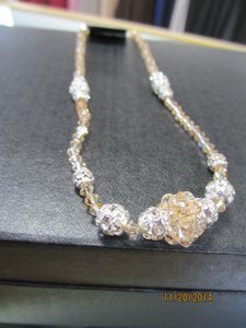 Giavan Golden Shadow Hol250n (N39) Crystal with Center Cluster Necklace