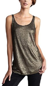 Eileen Fisher Shimmer Metallic Hunter Linen Top CAPER