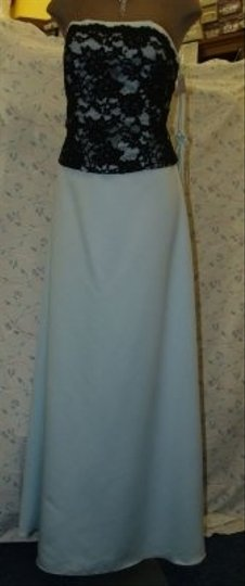 Jordan Fashions Blue & Black Satin / Light #107 Floor Length Prom Mother Of The Bride Groom Lace Sky A Traditional Bridesmaid/Mob Dress Size 12 (L)