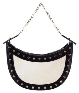 Fendi Black Cream Studded Parchment Shoulder Bag