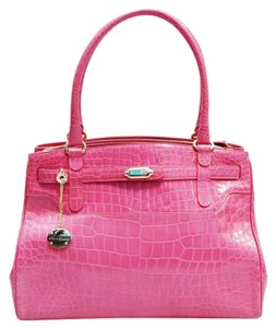 St. John Crocodile Satchel in Pink