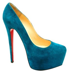 Christian Louboutin Suede Peep Toes High Heels Red Sole Louboutin NWT Dark green Pumps