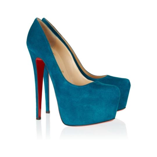 Christian Louboutin Suede Peep Toes High Heels Red Sole NWT Dark green Pumps