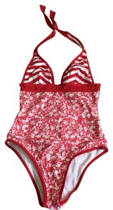 Burberry NWT Burberry red white one piece swimsuit size Small