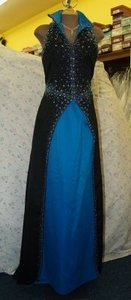 Blue/Black Satin Precious Deep Ocean/Black P1834 Formal Bridesmaid/Mob Dress Size 14 (L)
