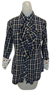 Georg Roth Los Angeles Plaid Ruffle Floral Butterfly Button Down Shirt Blue