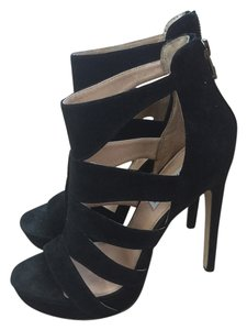 Steve Madden Summer Fall Leather Suede Girl Sexy Platform Stiletto Heel Strappy Zipper Spycee Black Sandals