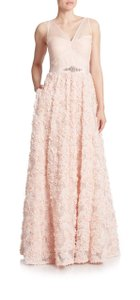 Adrianna Papell Blush Pink Rosette Gown Dress